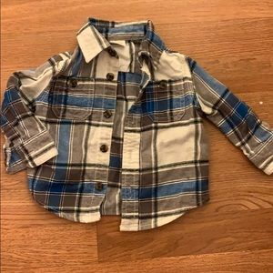 Baby plaid flannel button up
